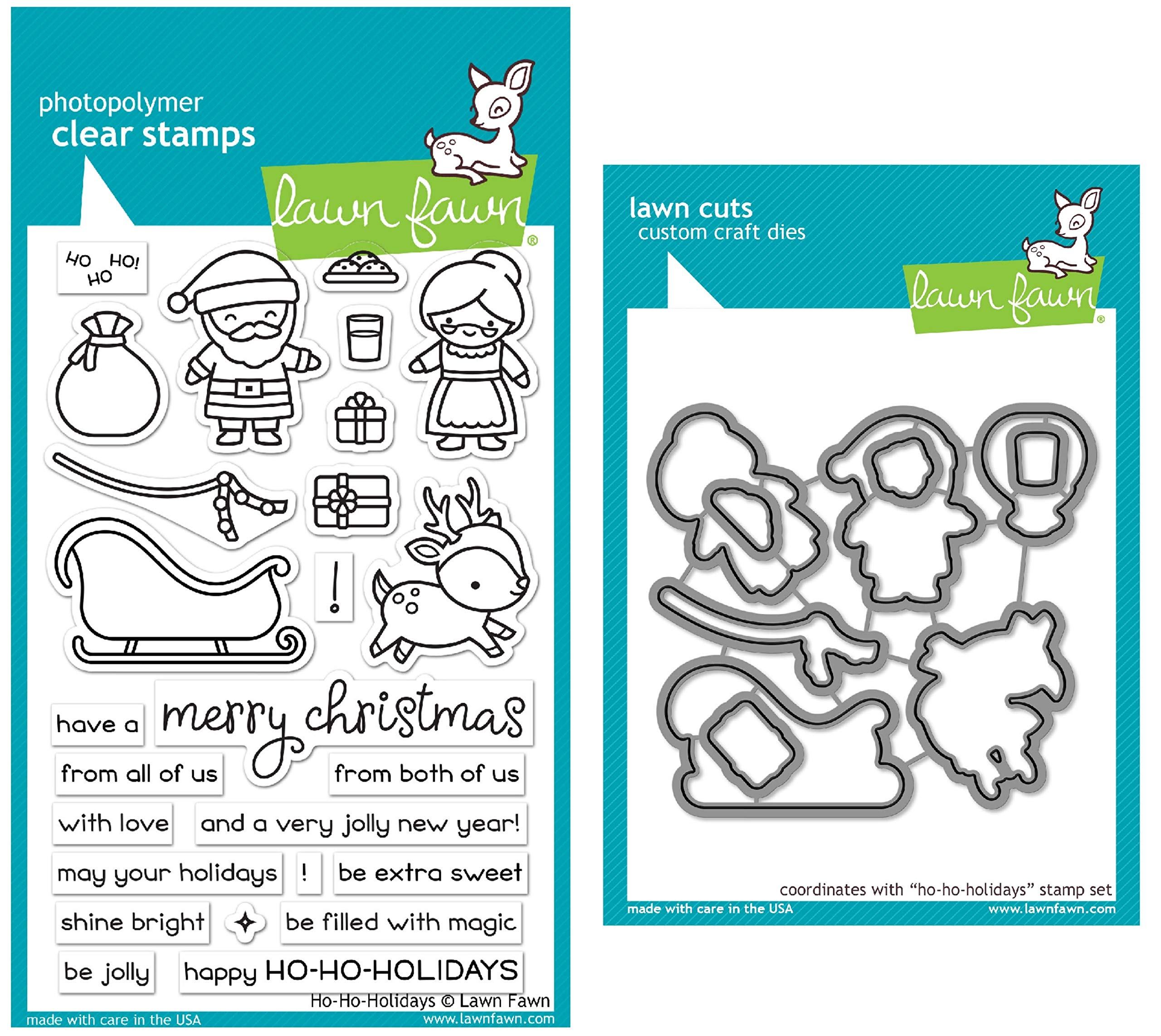 Lawn Fawn Ho-Ho Holidays Clear Stamps and Coordinating Dies - Bundle of 2 Items (LF2029, LF2030)