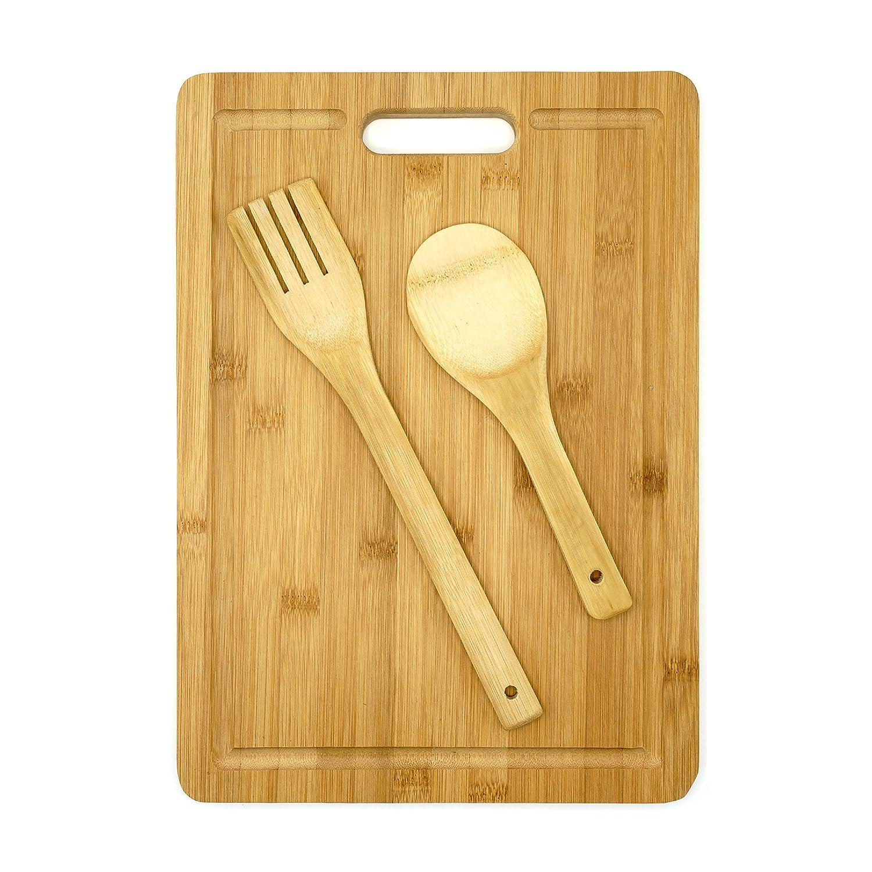 Set de tabla de cortar de madera de bambú con cuchara y tenedor de bambú. Con asa para un fácil transporte, protege la encimera de arañazos y de daños en cuchillos, para cocinar higiénicamente. Arc Premier