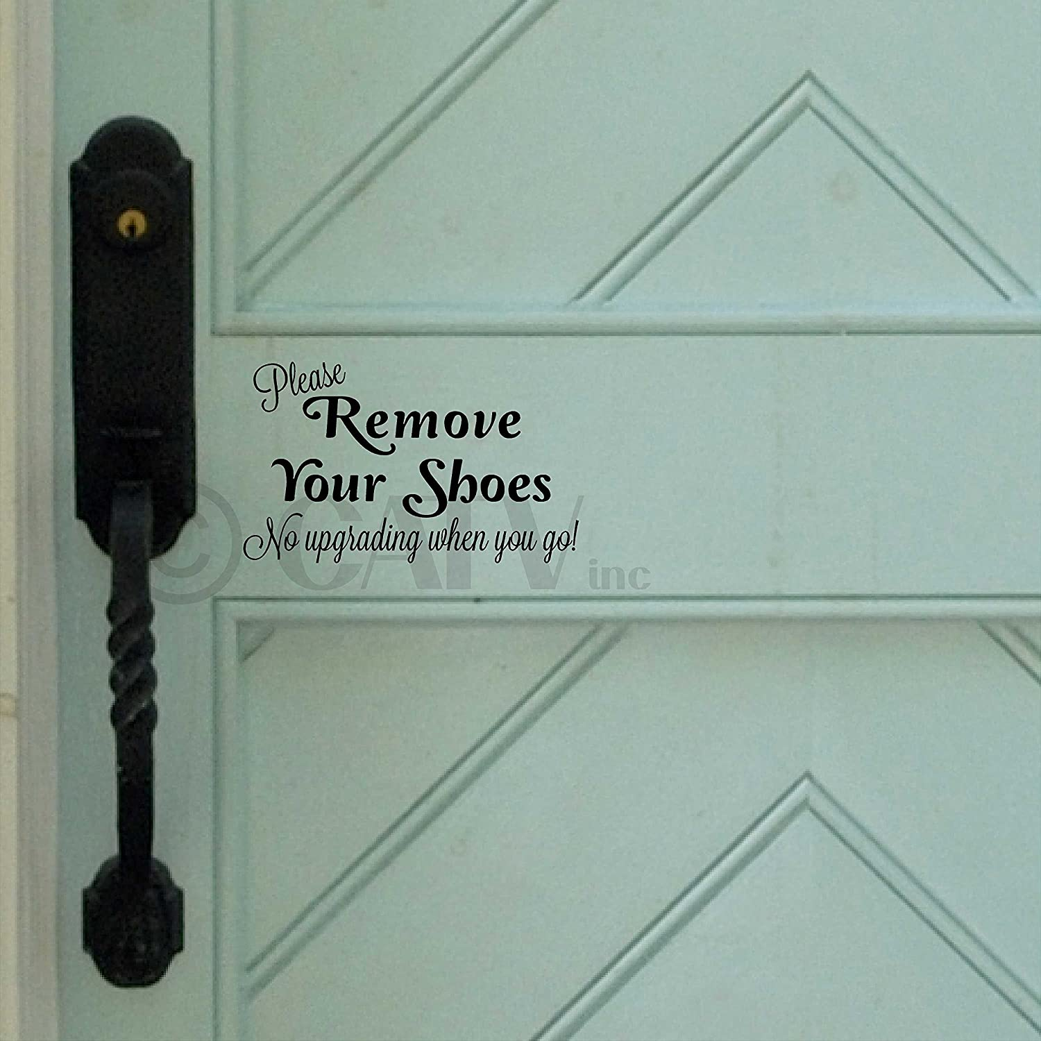 Please remove your shoes.no upgrading when you go vinyl wall decal (Black)