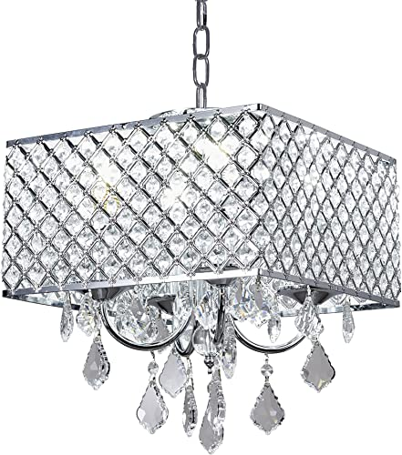 MonaLisa Gallery Crystal Chandeliers Semi Flush Mount Ceilling Pendant Light Fixture