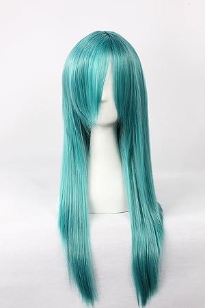Cosplay peluca verde peluca larga peluca verde yoko Pelucas UNA PIEZA