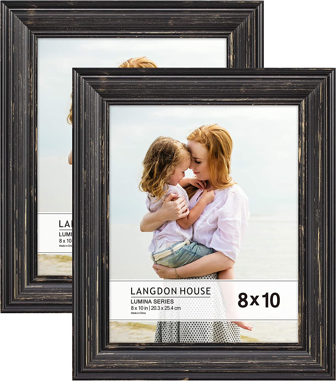 Langdon House 8x10 Real Wood Picture Frames 2 Pack Barnwood Brown Gold Accents Brown Wooden Photo Frame 8 X 10 Wall Mount Or Table Top Set Of 2 Lumina Collection Amazon Ca Home Kitchen