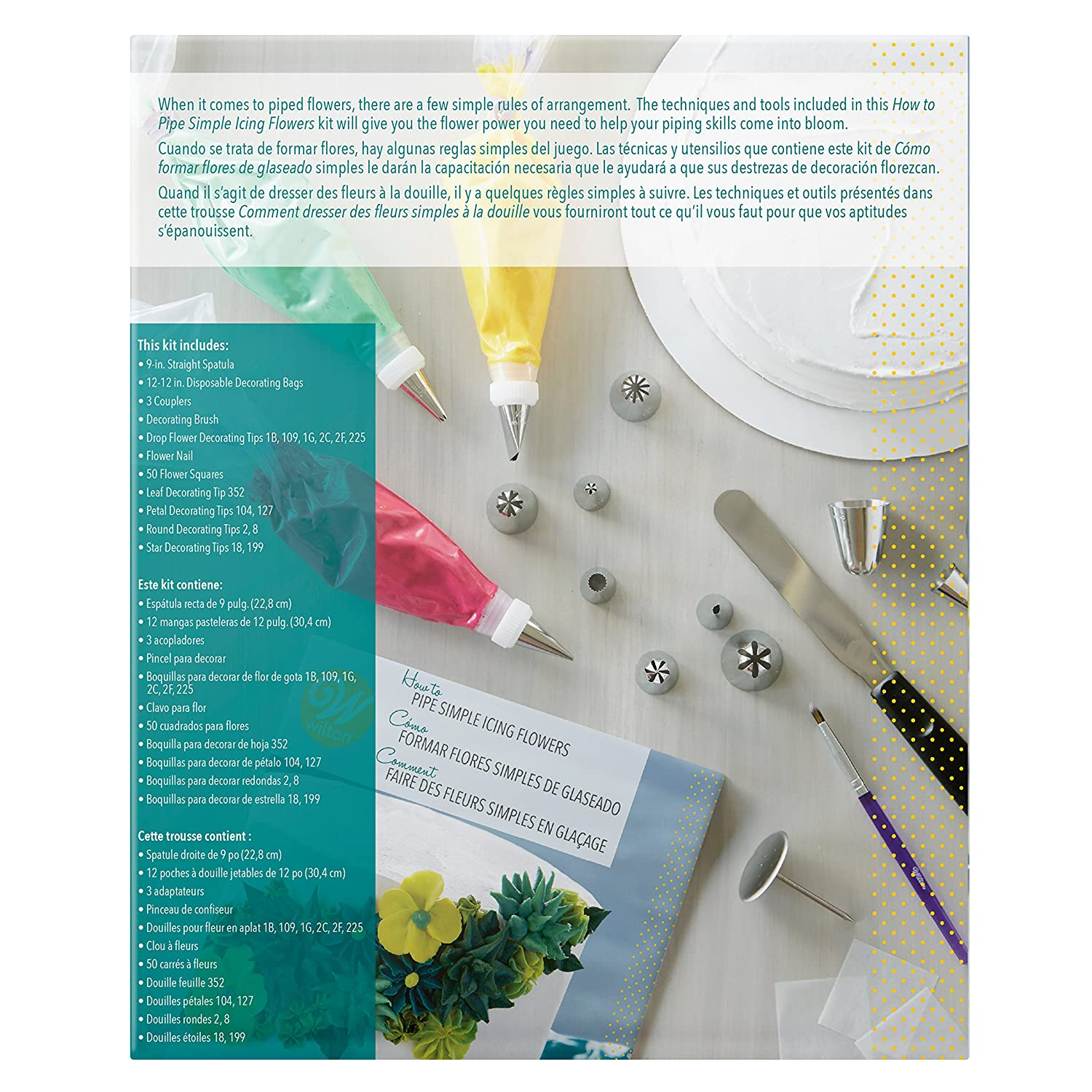 Amazon.com: Wilton How to Pipe Simple Icing Flowers Kit -68-Piece ...