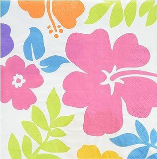 Hibiscus Lunch Napkins (100 count)  sc 1 st  Amazon.com & Amazon.com: Amscan Hibiscus Dessert Plates Hawaiian Tropical Luau ...