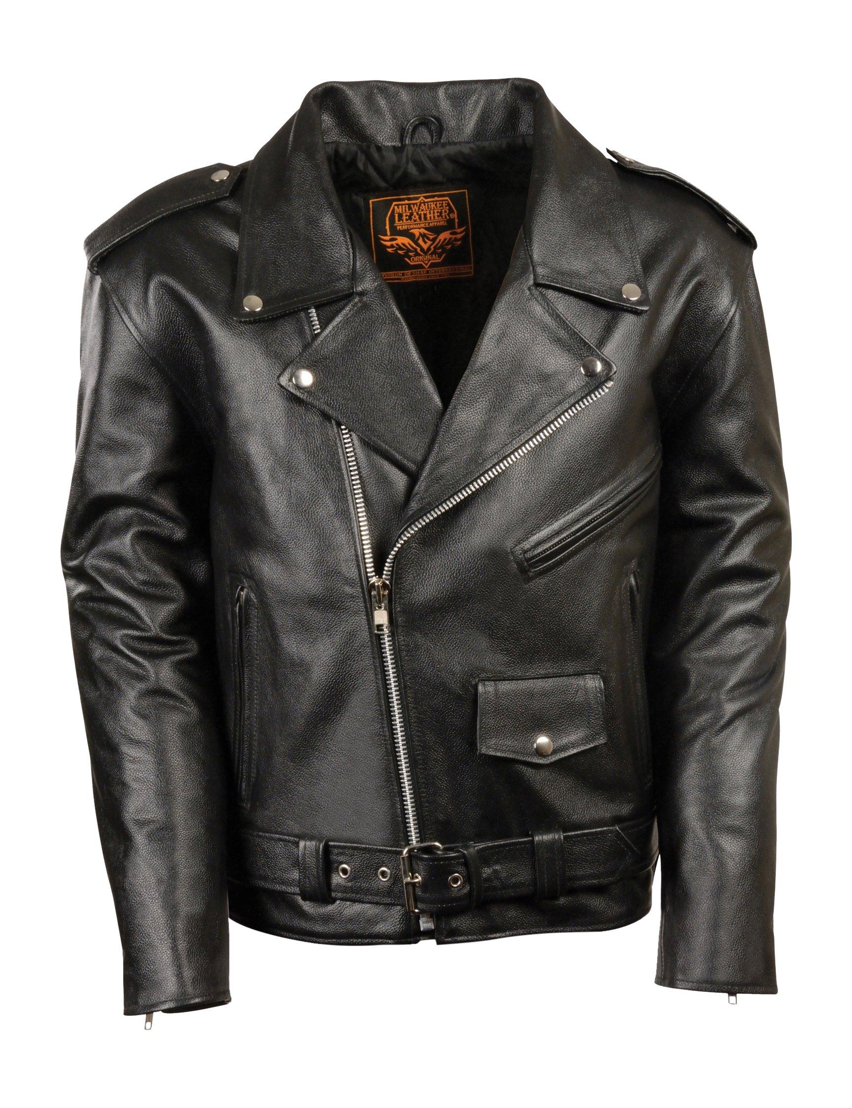 Milwaukee Leather LKY1950-BLK-26 Boys' Basic Motorcycle Jacket (Youth) (Black, Size 26)