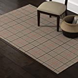Amazon Brand – Stone & Beam Casual Plaid Area Rug, 5 x 8 Foot, Flatweave, Grey, Ivory, Red