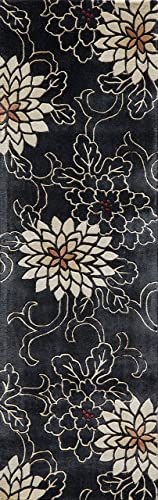 Momeni Rugs Koi Collection Hand Tufted 100 Wool Transitional Area Rug, 2 6 x 8 Runner, Black