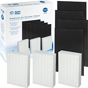 Fette Filter Replacement Filter Pack Including Pre-Cut Activated Carbon Pre-Filters for HPA300 Compatible with Honeywell Air Purifier 300 and Filter R (3 Hepa 4 Carbon Filters)