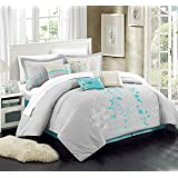 Chic Home 12-Piece Bliss Garden Embroidered Comforter Set, Turquoise, King