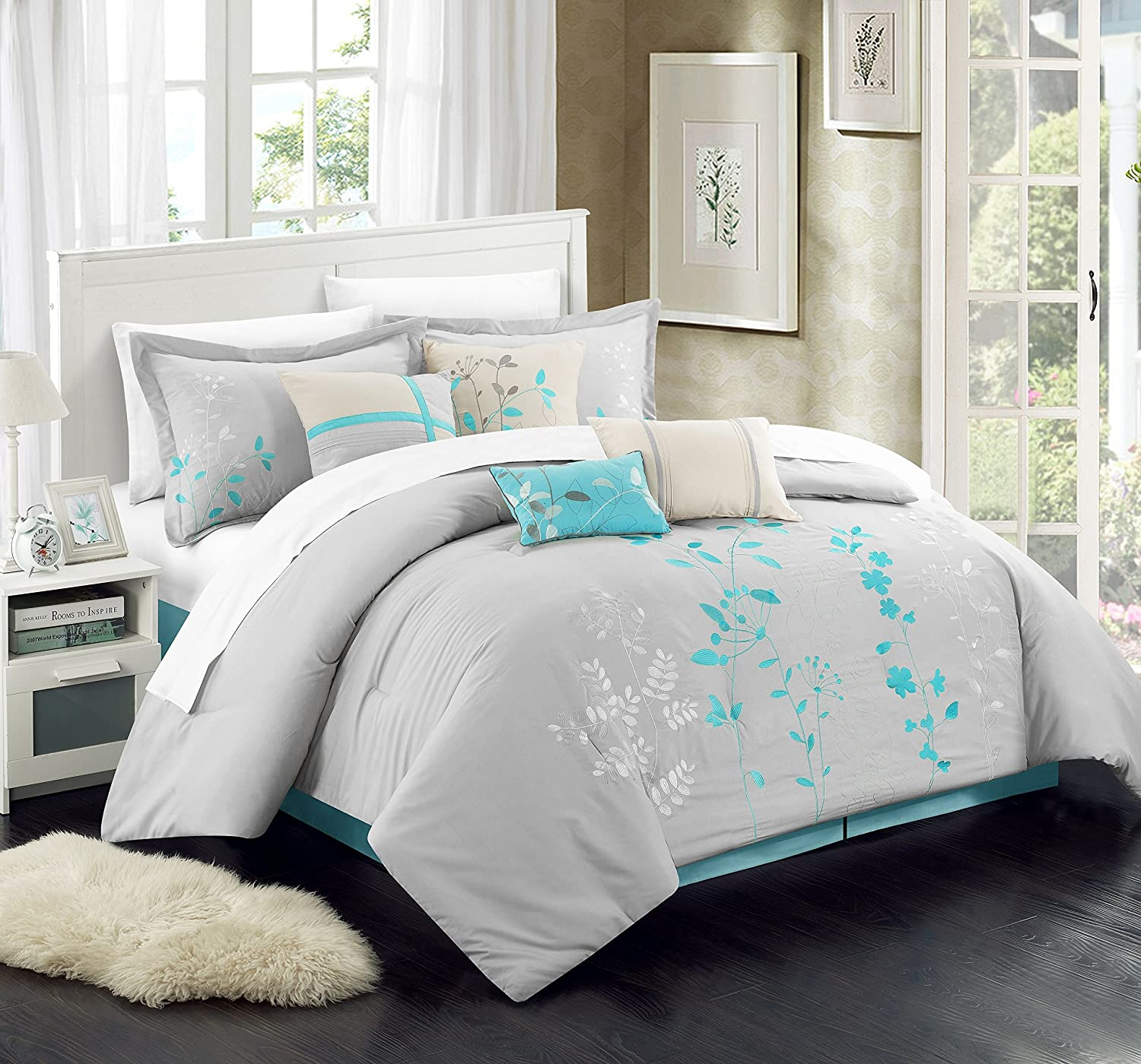 Chic Home 8 Piece Bliss Garden Comforter Set, King, Turquoise