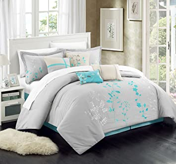 Exceptionnel Chic Home 12 Piece Bliss Garden Embroidered Comforter Set, Queen,  Turquoise, With