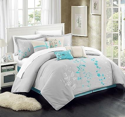 Great Chic Home 8 Piece Bliss Garden Comforter Set, Queen, Turquoise