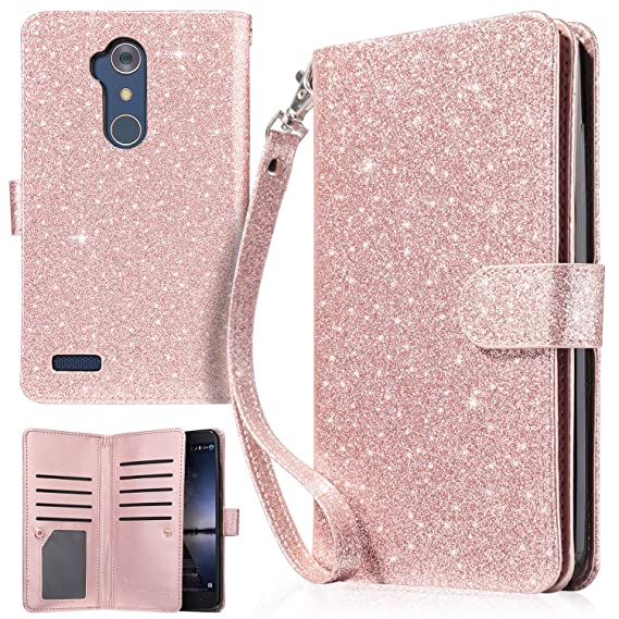 Cases, Covers & Skins United For Zte Max Xl Blade Glitter Wallet Phone Case Hybrid Extra Pocket Stand Purse Customers First