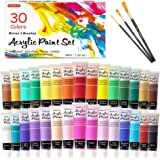 Acrylic Paint Set, Shuttle Art 30 Colors Acrylic Paint in Tubes (36ml) with 3 Brushes, Artist Grade Paint, Rich Pigments…