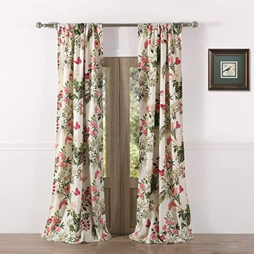 Greenland Home Butterflies Curtain Panel Set, 84-inch, Multi