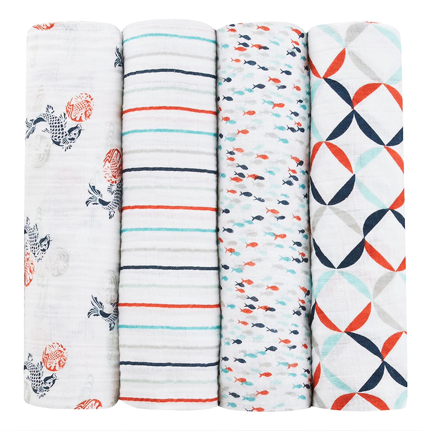 aden + anais Tea Collection and Swaddles, Fish Pond TC2001F