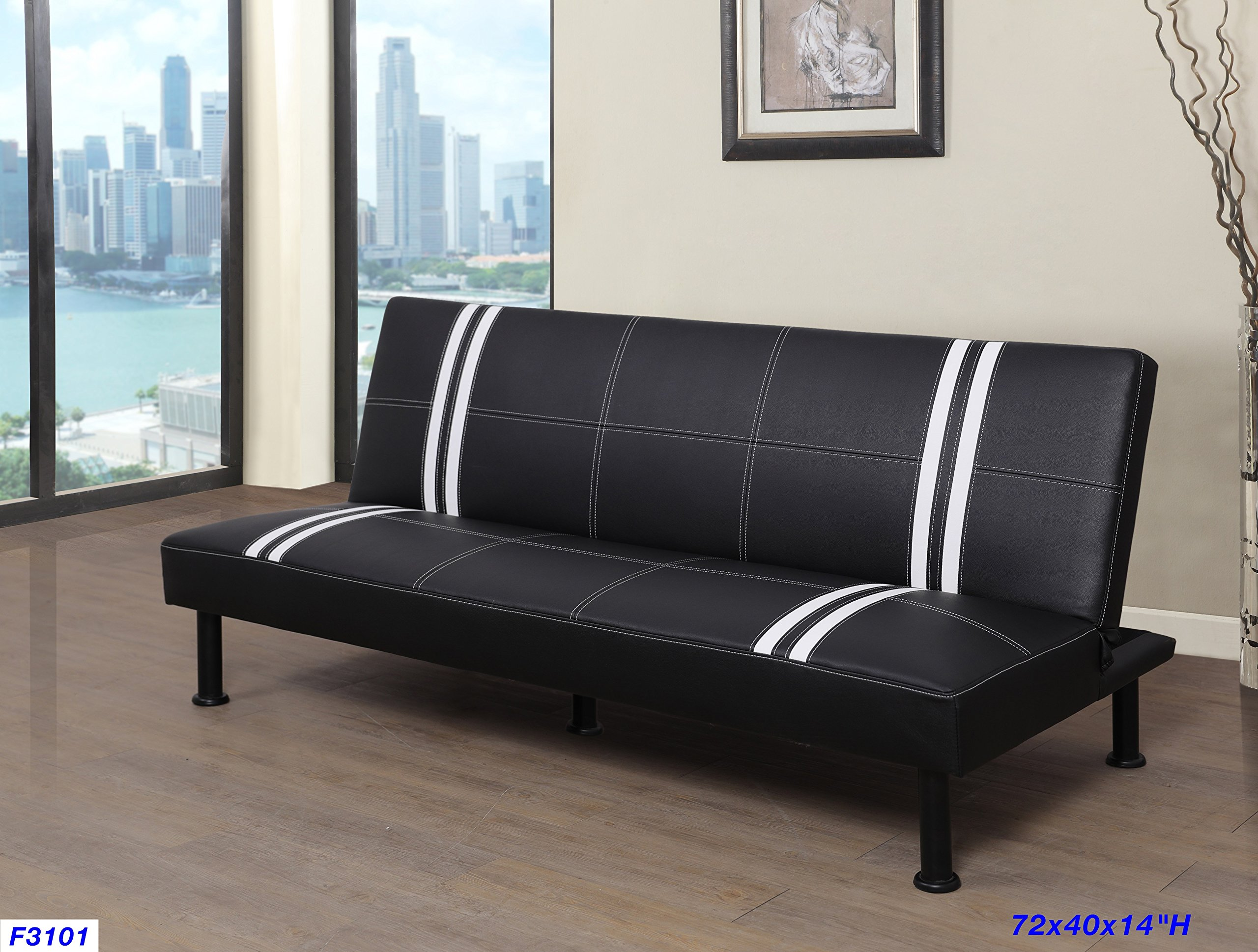 Beverly Furniture F3101 Futon Convertible Sofa Black/White by Beverly Furniture