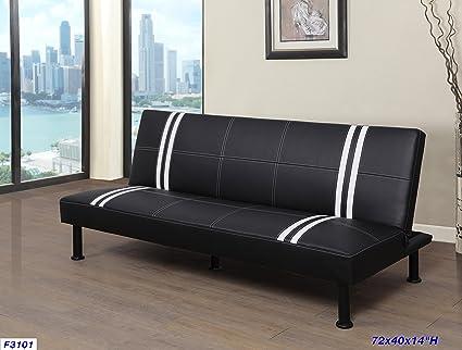 Beverly Furniture F3101 Futon Convertible Sofa, Black/White