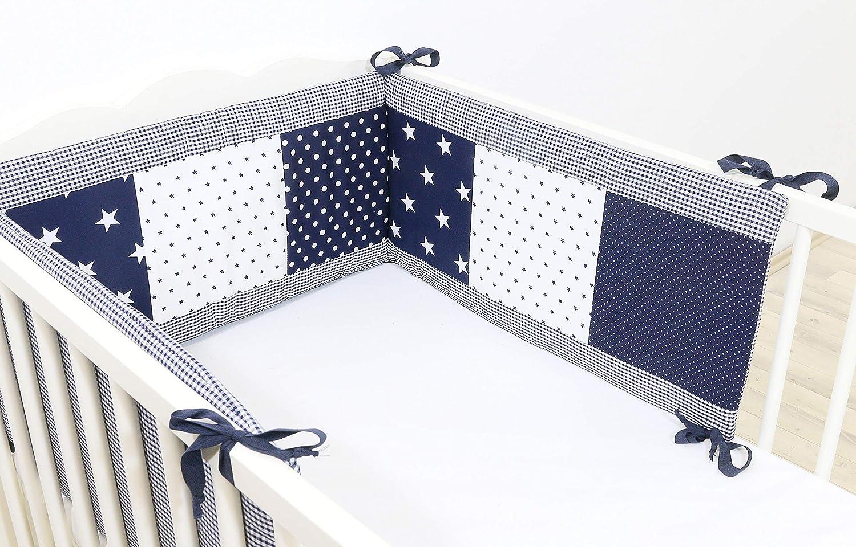 Protector de cuna de ULLENBOOM /® con estrellas azules protector de cuna de 180/x/30 cm; chichonera para cunas de 120/x/60 cm; zona de la cabeza
