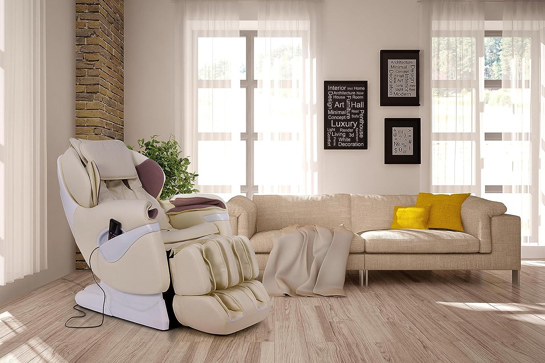 Sillón de masaje y relax profesional SAMSARA 2D-Shiatsu - Beige (nuevo modelo 2018) - 5 modos de masaje - Masaje presión de aire - Gravedad cero - Masaje de ...