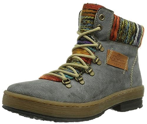 ab2ad7fbf56a6b Rieker Women's Z6743 Boots, Grey (Basalt/nuss/Orange-Multi),