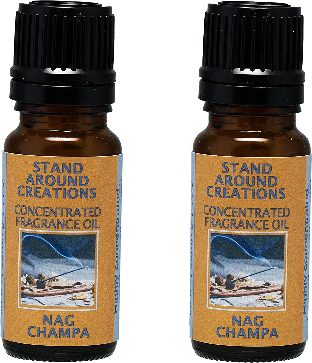 Set of 2 - Concentrated Fragrance Oil - Nag Champa: Has the aroma of incense; patchouli, sandalwood, and dragon's blood. Made with natural essential oils.(.33 fl.oz.)