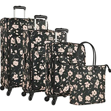 64b7bbd0b Amazon.com: Chaps 4 Piece Spinner Luggage Set, Pink Floral