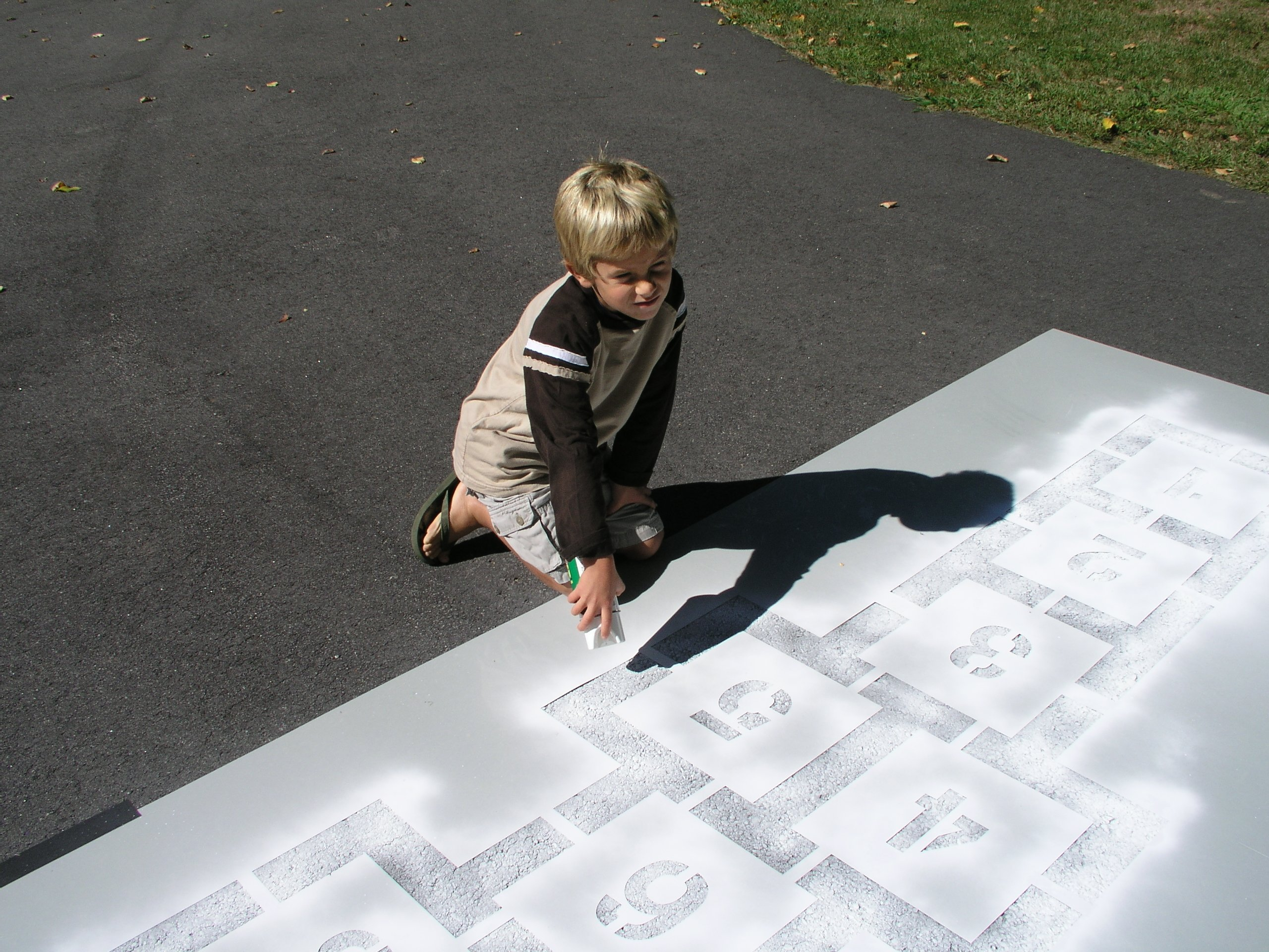 Classic Hopscotch Stencil | Playground Stencil Collection | Official Size | Paint Stencils for playground and pavement by stencil ease