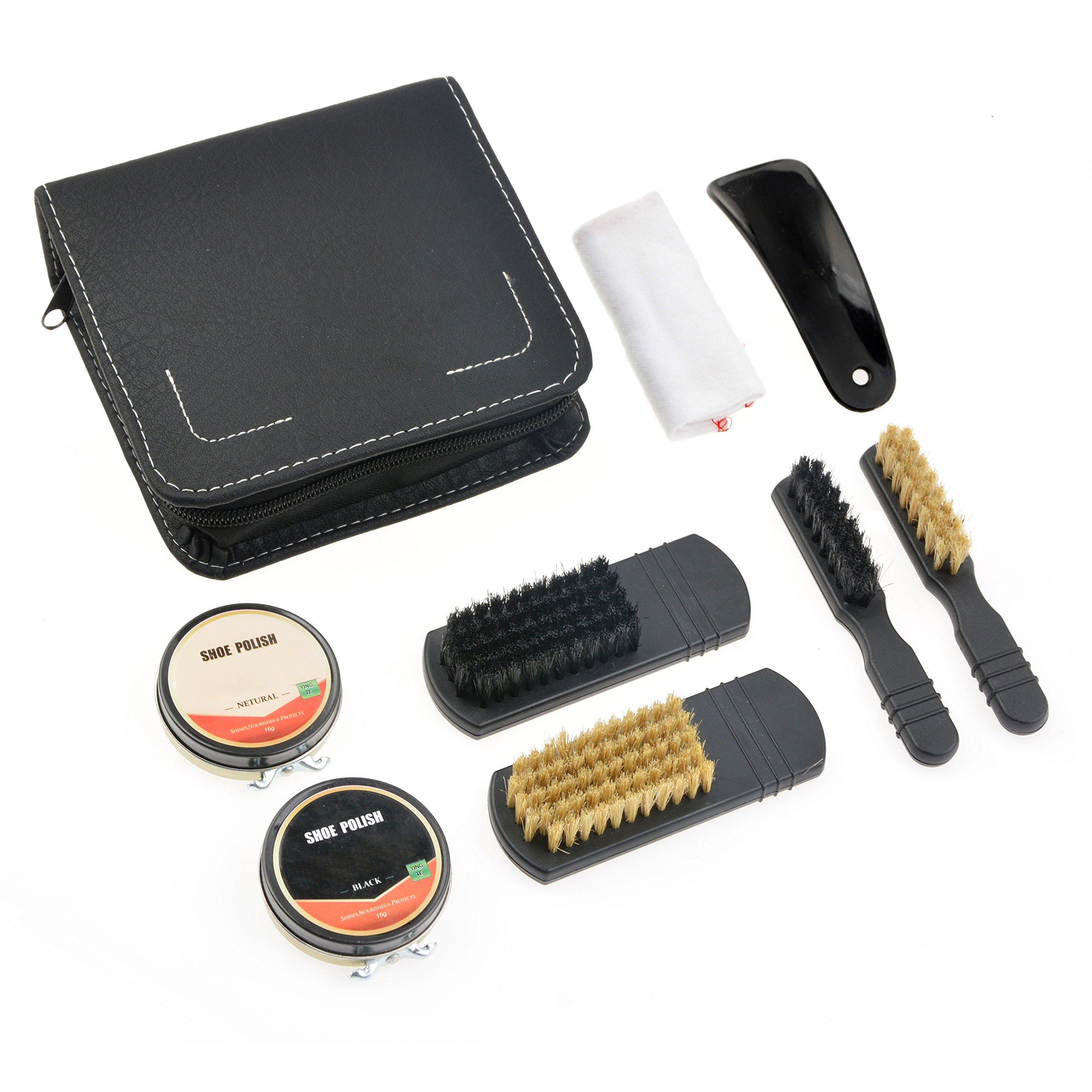 Shoe Shine Kit, 7-Piece Travel Shoe Shine Brush kit, PU Leather Sleek Elegant Case, 100% Natural Boar Bristle Brush