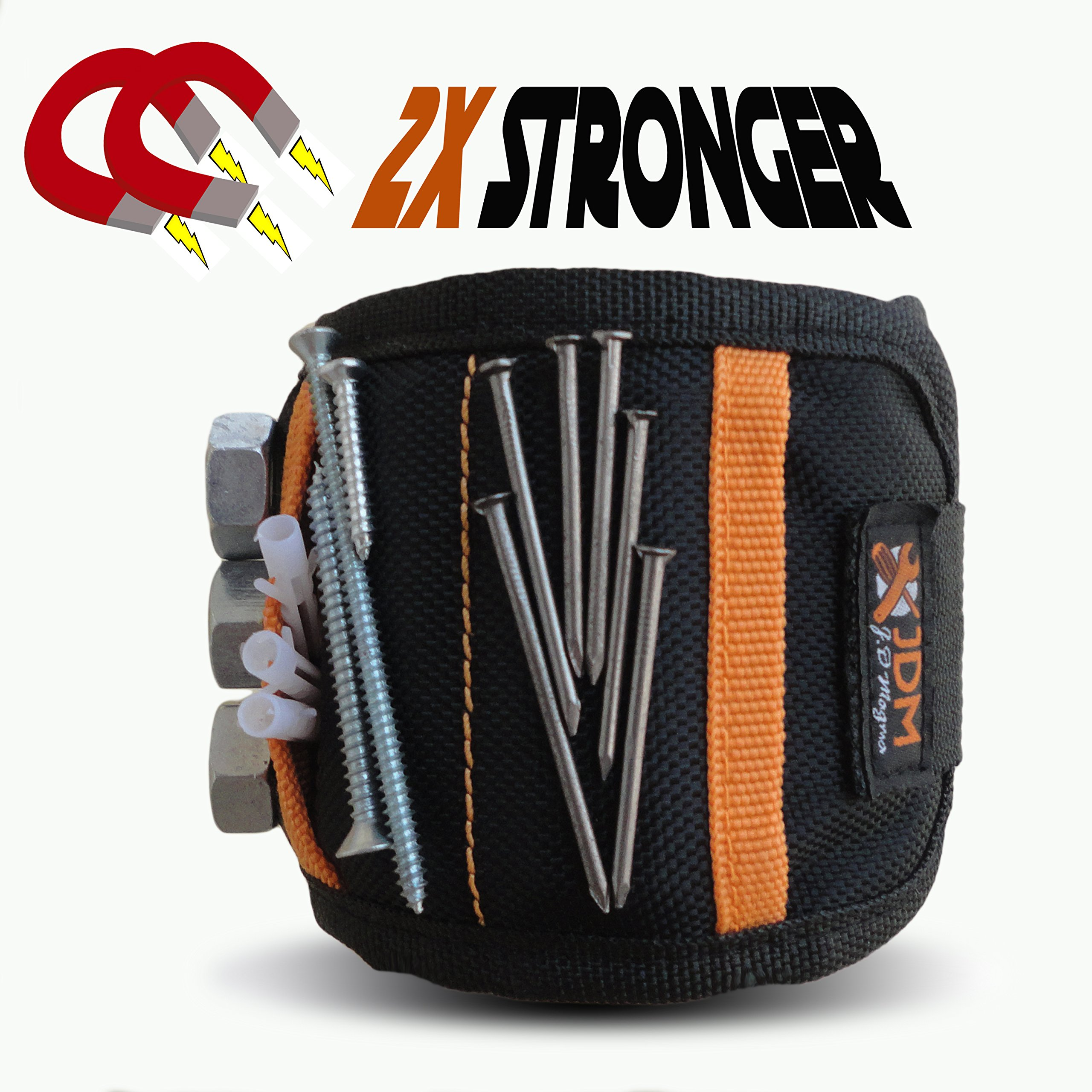 Upgraded Powerful Magnetic Wristband with Pockets for Holding Tools 15 Strong Magnets with Magnetic Plate Durable Adjustable Tool Holder Black DIY Best Gift for Men, Father/Dad, Him, DIY, Women