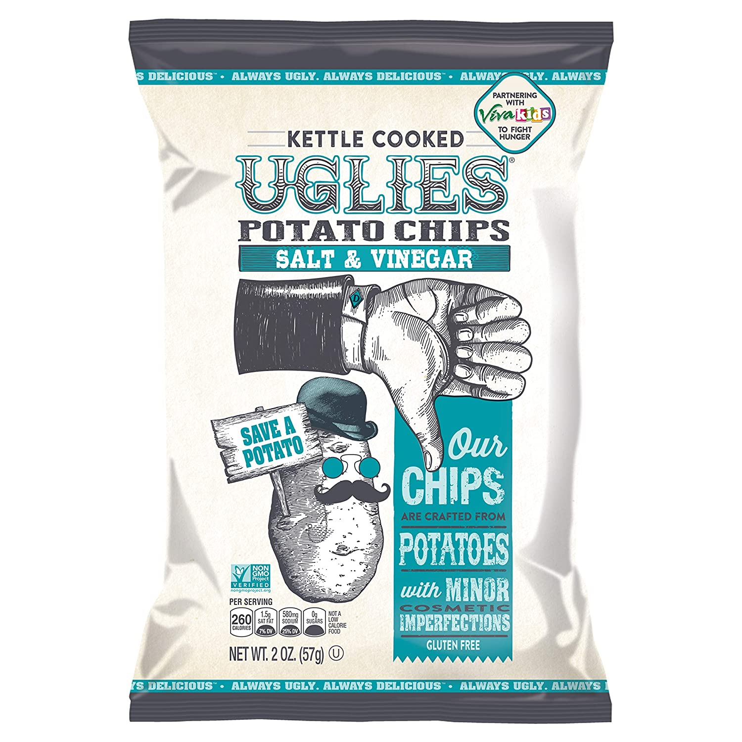 UGLIES 12 Pack Kettle Cooked Salt & Vinegar Potato Chips - Gluten Free, Kosher, Non-GMO Office and Kids Snack - Individual Lunch Snack Packs - 2 oz Bags