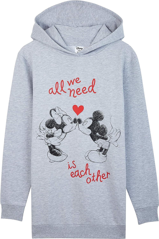 Disney Sudaderas Mujer, Sudaderas Anchas con Personaje Mickey y Minnie Mouse, Vestido Sudadera Mujer con Capucha, Regalos para Mujer y Adolescente Talla S-XL