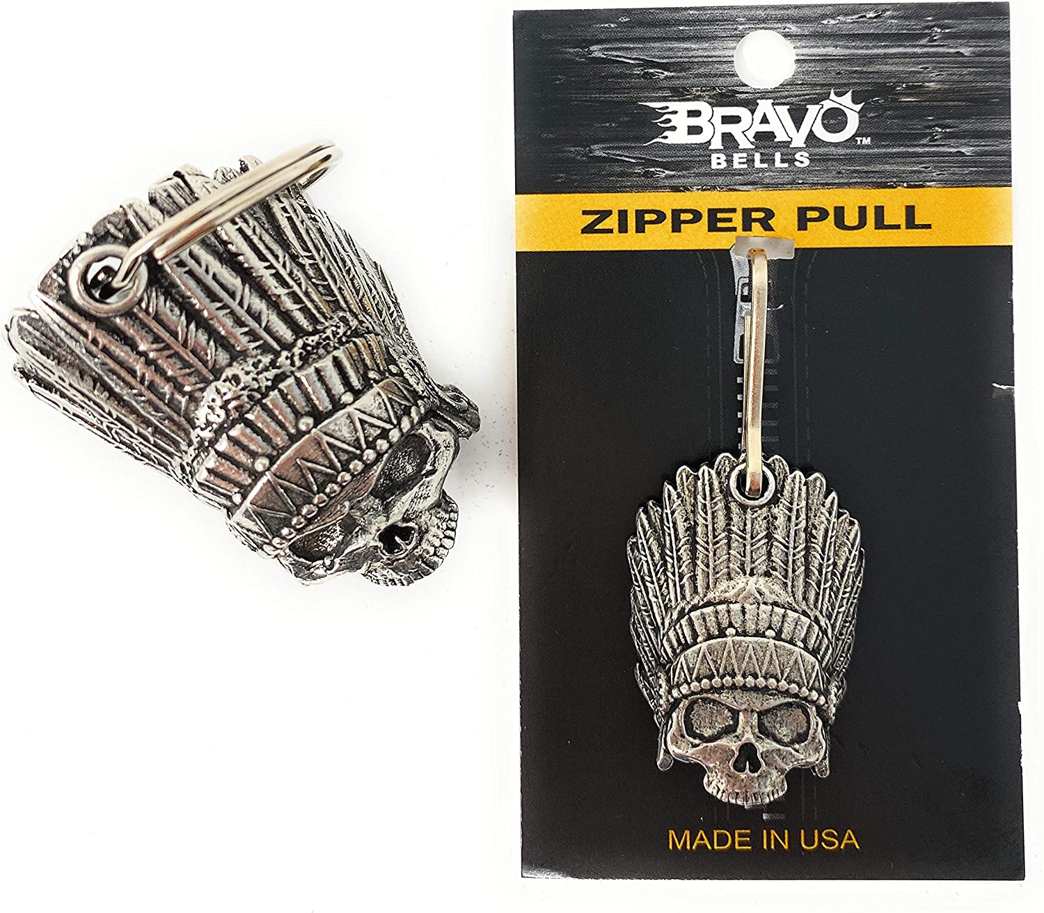 Indian Skull Motorcycle Biker Bell Accessory or Key Chain with Matching Indian Skull Zipper Pull for Luck