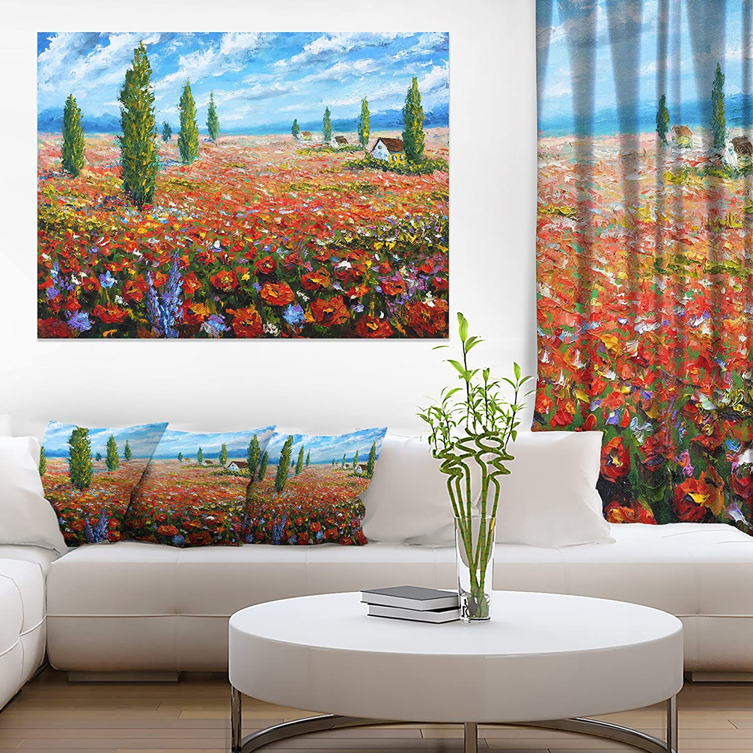Amazon Com Design Art Red Poppies Field Watercolor Large Flower Canvas Wall Art 20x12 Red Paintings