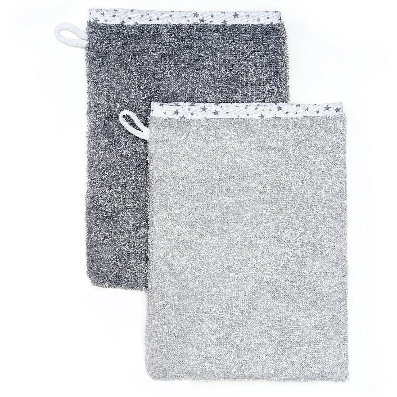 Wörner - Toalla con capucha para bebés, 80x80 cm, incluye 2 manoplas de baño/ Certificado Oeko-Tex Standard 100/ Rizo - 100% algodón/ Color gris con ...
