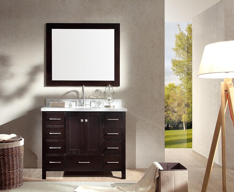 Amazon Ariel Cambridge A043S ESP 43 Single Sink Solid Wood Bathroom Vanity Set In Espresso With White 15 Carrara Marble Countertop Home Improvement