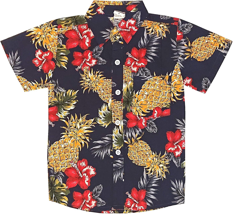 Unbekannt Kinder Oberteil Pinapple Ananas Bl/üten Retro Hawaiihemd