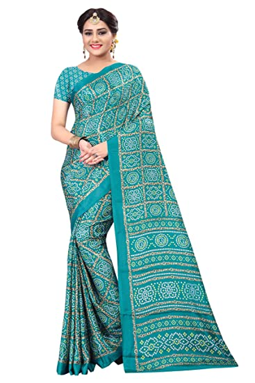 50e2288a72 Stylehut Light Blue Art Silk Bandhani Printed Party Wear Saree: Amazon.in:  Clothing & Accessories