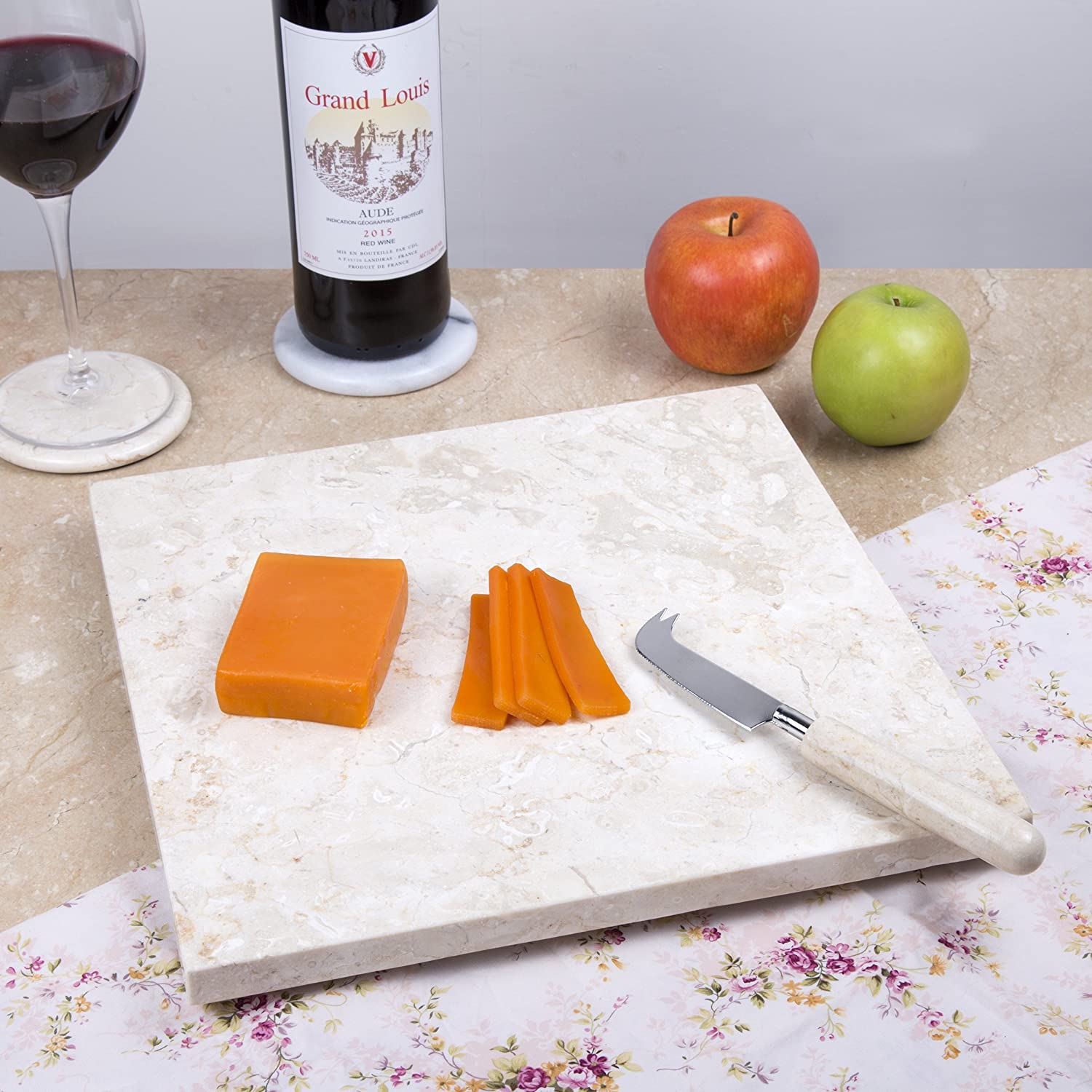 Serving Plater Creative Home 74752 Natural Stone Black Marble 12 x 12 Cheese Board