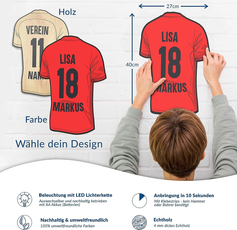 Elbeffekt Trikotlampe f/ür Ingolstadt Fans aus Echtholz personalisierbares Geschenk schenke Dein individuellen Ingolstadt Fanartikel aus Holz