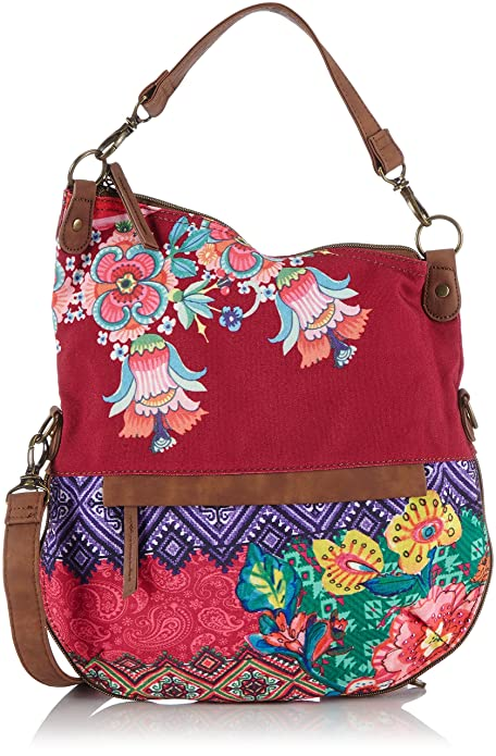 Desigual Bols Folded Canefa - Bolso para mujer, color multicolore (3070 purple potion), talla talla única: Amazon.es: Zapatos y complementos