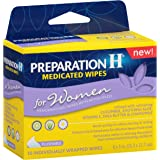 Preparation H Women's Flushable Medicated Hemorrhoid Wipes, Burning and Itching Relief with Cucumber, Aloe, Vitamin E, Shea Butter and Chamomile, Package (10 Count)