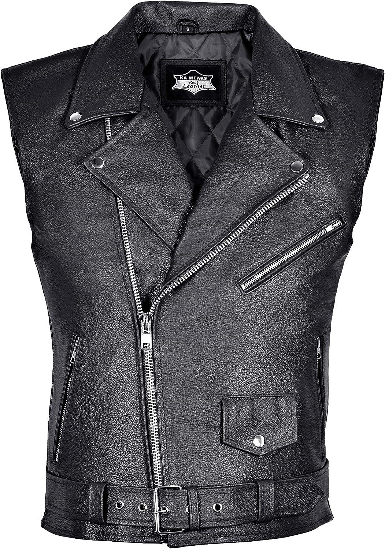 Leather Waistcoat Mens Biker Motorcycle Vest Black Brando Real Black Perfecto