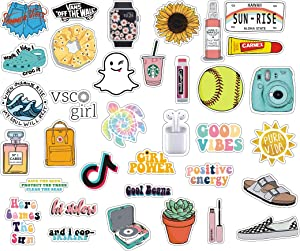 Cute VSCO Girl Aesthetic Stickers for Hydro Flask, Laptops 35 Pack Uniquely Designed Vinyl Water Bottle Stickers for Girls, Teens, Trendy Aesthetic Stickers
