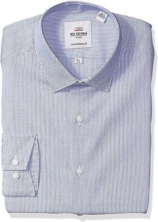 Ben Sherman Hombre HBS0800 Cuello Tipo Italiano Manga Larga Camisa de Vestir - Azul - 46 cm Cuello 86 cm/ 89 cm Manga: Amazon.es: Ropa y accesorios