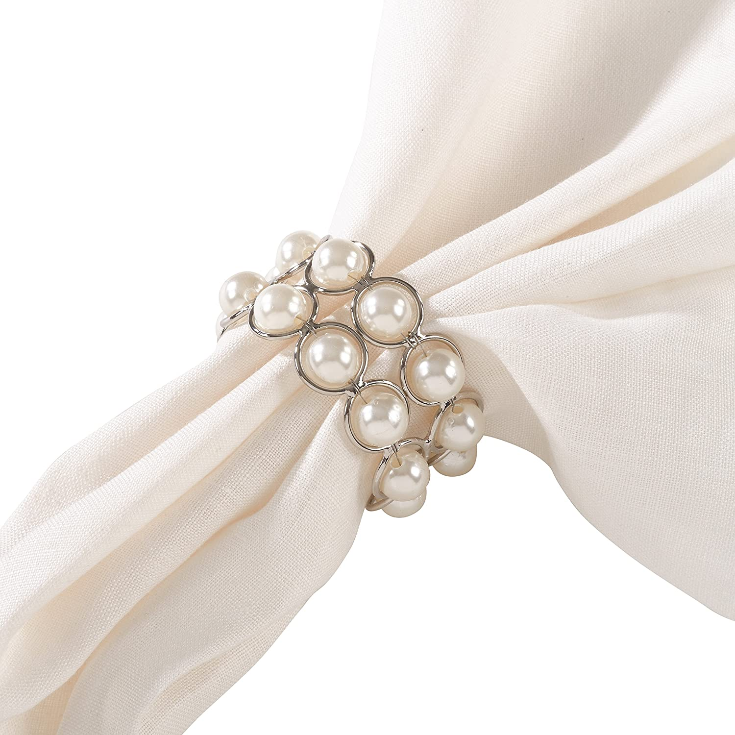 SARO LIFESTYLE Faux Pearl Flower Design Napkin Ring Set of 4 Ivory 2.5 x 3.5