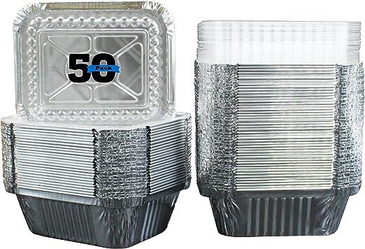 MontoPack - Bandeja rectangular de papel de aluminio con tapa de ...