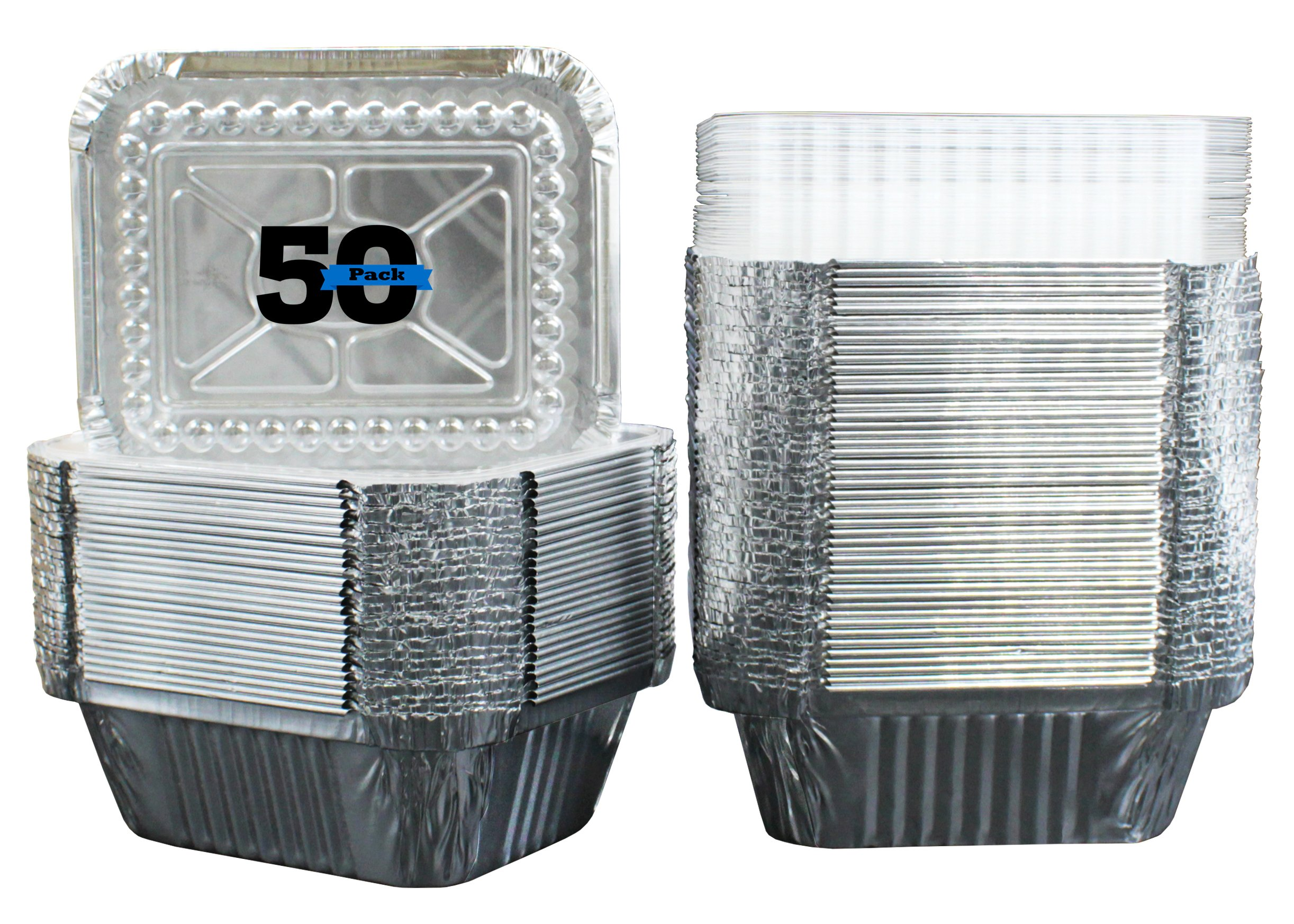 """50 Pack of Disposable Takeout Pans with Clear Lids – 1 Lb Capacity Aluminum Foil Food Containers – Strong Seal for Freshness – Eco-Friendly and Recyclable – 5x4"""" Inch Drip Pans - By MontoPack"""
