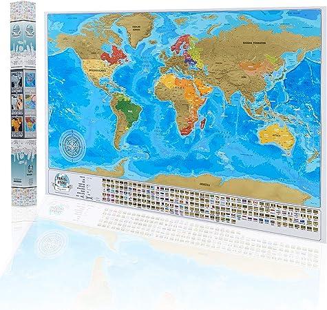 Mapa del mundo para rascar el viaje, mapa personal de viaje, póster con banderas en caja