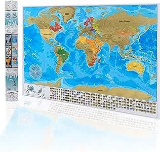 Mapa del mundo para rascar el viaje, mapa personal de viaje, póster con banderas en caja de regalo, mapa grande para rascar, tamaño XXL, 84 x 57 cm, mapa detallado del mundo